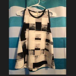 Anthropologie Black and white sleeveless top